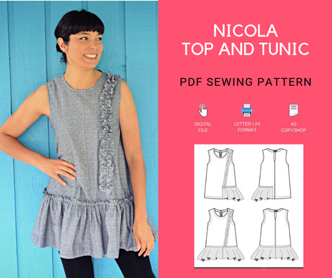 Nicola Top and Tunic PDF sewing pattern