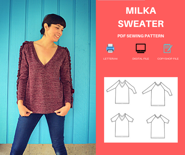 Milka Sweater PDF sewing pattern and printable sewing tutorial
