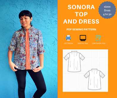Sonora Top and Dress PDF sewing Pattern