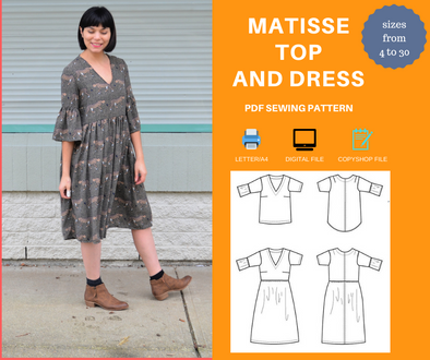 Matisse Top and Dress PDF sewing pattern
