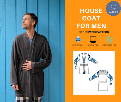House Coat For Men PDF sewing pattern and sewing tutorial