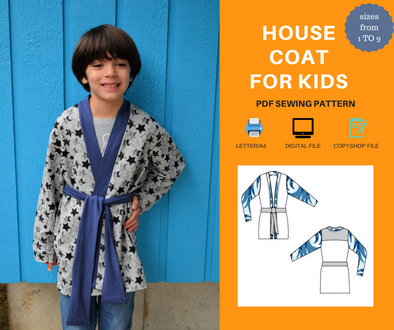 House Coat For KIDS PDF sewing pattern and sewing tutorial