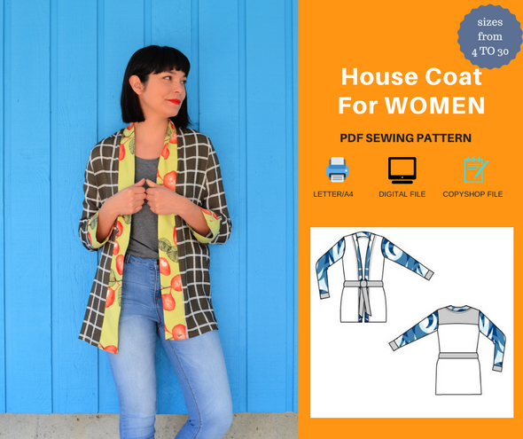 House Coat For WOMEN PDF sewing pattern and sewing tutorial