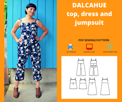 dalcahue Top, dress and jumpsuit PDF sewing pattern