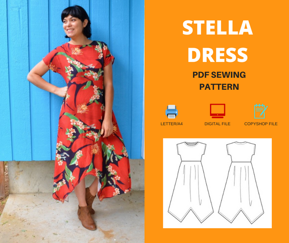 Stella dress For WOMEN PDF sewing pattern and sewing tutorial