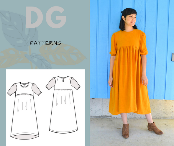 Marta Dress PDF sewing pattern and printable sewing tutorial for women including plus sizes