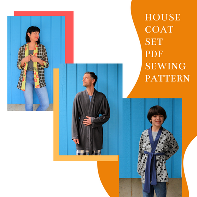 House Coat For KIDS, WOMEN AND MEN PDF sewing pattern and sewing tutorial