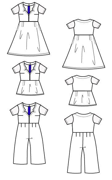 Serena Jumpsuit, Top and Dress PDF sewing pattern