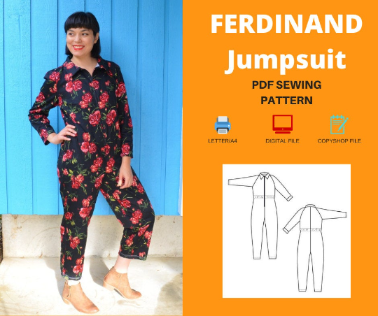 Ferdinand Jumpsuit For WOMEN PDF sewing pattern and sewing tutorial