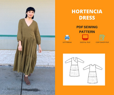Hortencia dress For WOMEN PDF sewing pattern and sewing tutorial