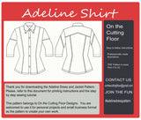 Adeline Shirt PDF Sewing pattern for women clothing: Instant download denim shirt with this PDF printable sewing pattern, plus size pattern