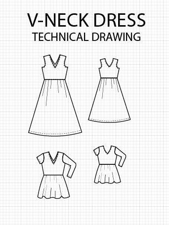 V-Neck Dress Pattern PDF printable Sewing Pattern - DGpatterns