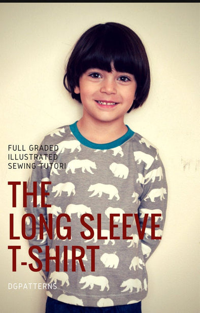 Long sleeve T-shirt for Kids:  Printable PDF sewing patterns for kids tee sizes 3 to 9 years. - DGpatterns
