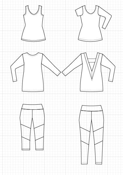 Cutout Cardigan, tank top and leggings - DGpatterns