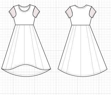 High Low Skater Dress PDF printable sewing pattern and Step by Step sewing tutorial in size 4 to 22 for women - DGpatterns