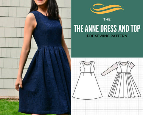 Anne Dress and Top PDF printable sewing pattern