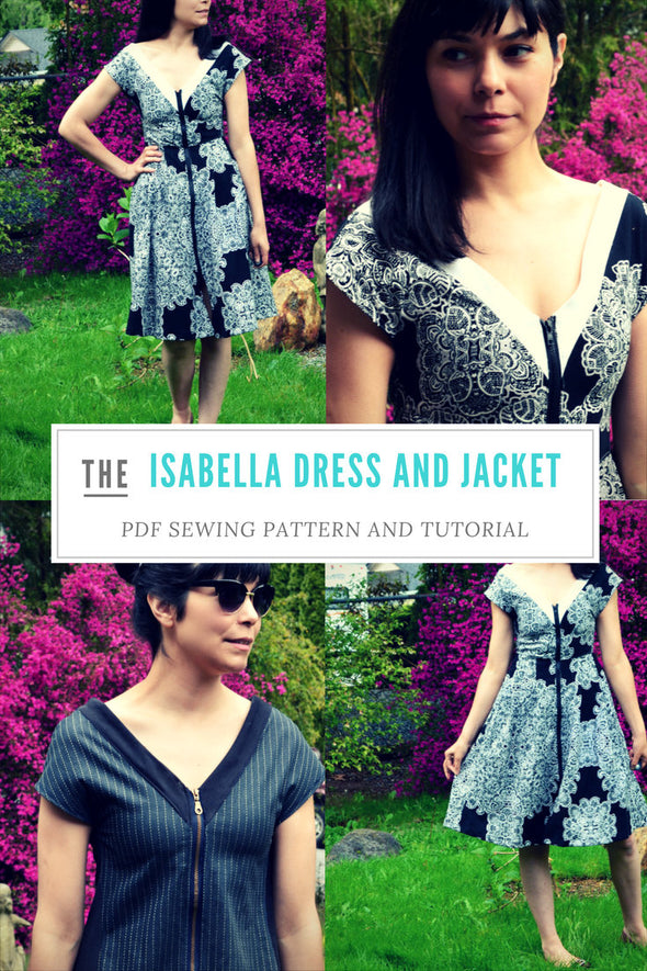 The Isabella Dress and Jacket PDF sewing pattern and step by step printable downloadable sewing tutorial with sizes for women 4 to 22 - DGpatterns