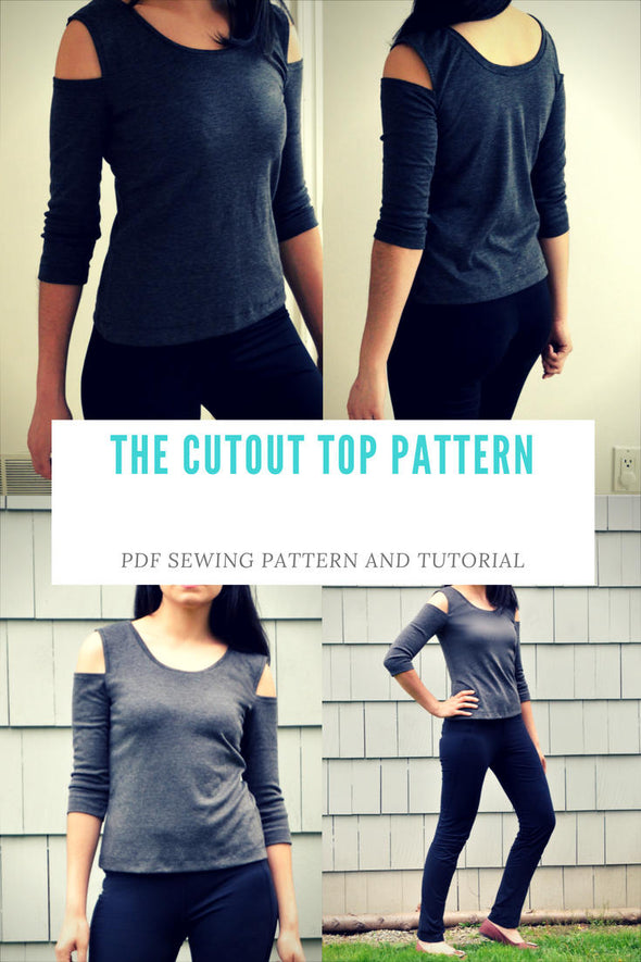 The Cold Shoulder Knit Top PDF printable sewing Pattern and Sewing tutorial including sizes 4 to 22 - DGpatterns