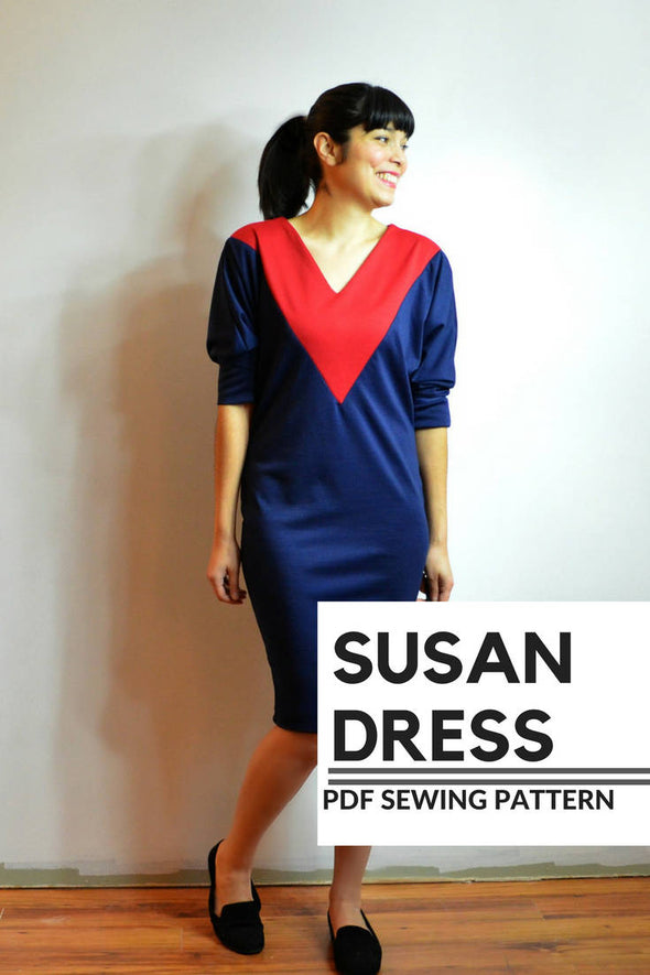 Susan Dress PDF sewing Pattern and Sewing tutorial including sizes 4 to 22 with a printable letter and A4 format plus copyshop format - DGpatterns