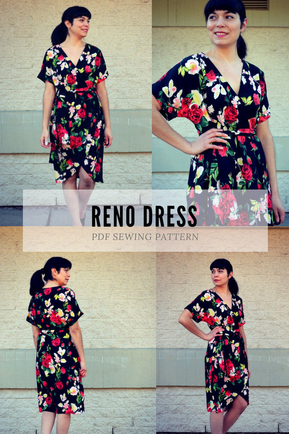 The Reno Dress PDF sewing pattern and step by step sewing tutorial for women.  Pattern available in sizes 4 to 22 with illustrated sewing - DGpatterns