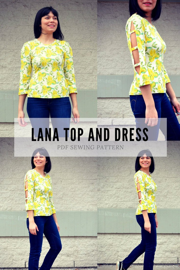 The Lana Top and Dress PDF sewing pattern and sewing tutorial.  Printable sewing pattern for women sizes 4 to 22, including plus size patter - DGpatterns