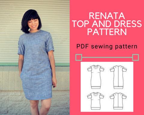 Renata Top and Dress PDF sewing pattern and tutorial - DGpatterns