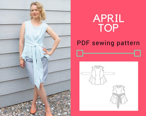 APRIL top and blouse PDF printable sewing pattern and sewing tutorial for women.  Woven top including sizes from 4 to 22 plus sizes included