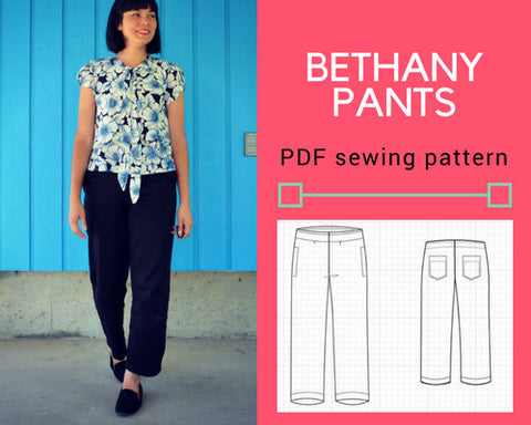 The Bethany pants PDF sewing pattern and tutorial for women.  Printable woven pants pattern sizes 4 to 22 including plus sizes
