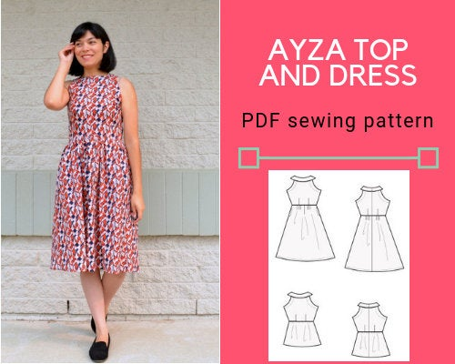 Ayza Top and Dress Printable PDF sewing pattern and tutorial - DGpatterns