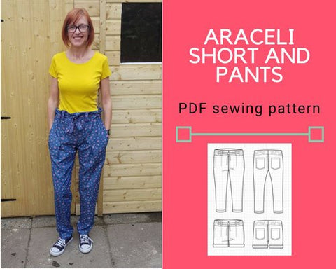 The Araceli Shorts and Pants PDF sewing pattern and sewing tutorial