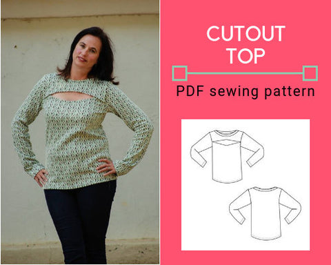 CUTOUT  top:  Printable PDF sewing pattern for women.  Easy beginner sewing top for women, available in sizes 4 to 22.  Sewing tutorial inc