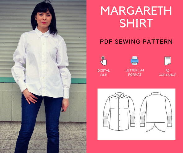 The Margareth Shirt PDF printable sewing pattern and step by step sewing tutorial - DGpatterns