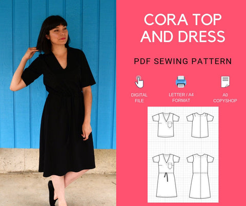 Cora Top and Dress PDF sewing pattern