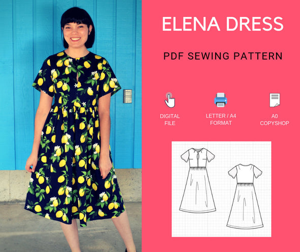 The Elena Dress PDF sewing pattern - DGpatterns