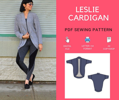 Leslie Cardigan PDF sewing pattern - DGpatterns