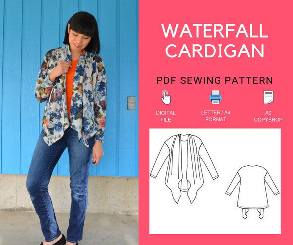 Waterfall Cardigan PDF sewing pattern and tutorial - DGpatterns
