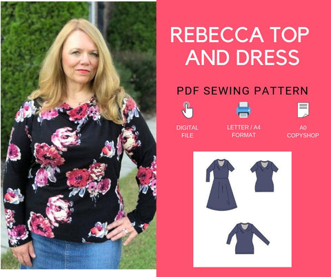 Rebecca Top and Dress PDF sewing pattern and tutorial for women, knit cowl dress and top pattern