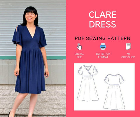 Clare Dress Pattern: A wrap dress with gathered skirt and flared sleeves design for knit dresses.  It is available in 4 to 22 in sizes