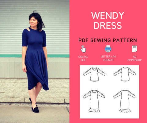 The Wendy Dress PDF sewing pattern and Step by step sewing tutorial for women, sizes 4 to 22