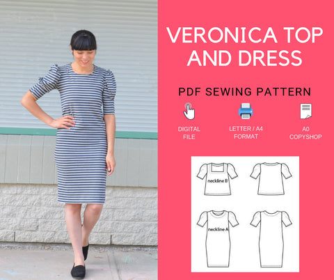 The Veronica Top and Dress PDF sewing pattern and step by step sewing tutorial