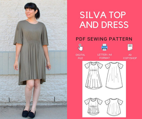 The Silva Top and Dress PDF sewing pattern and tutorial for women.  Knit dress and top pattern available in sizes 4 to 22.