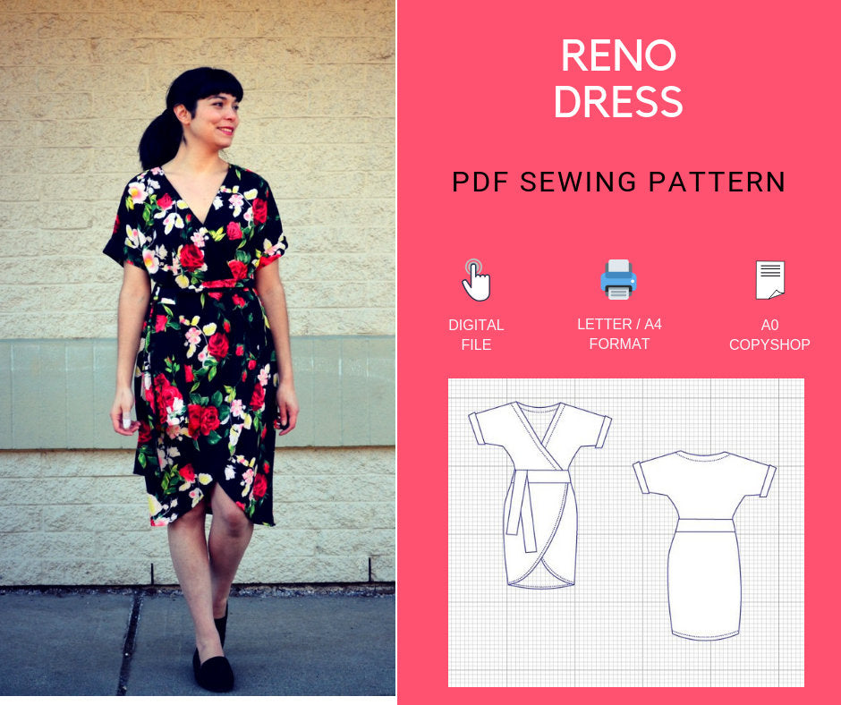 The Reno Dress PDF sewing pattern and step by step sewing tutorial for  women  Pattern available in sizes 4 to 22 with illustrated sewing