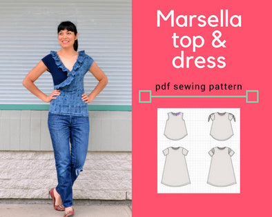 Marsella Faux Wrap top and dress PDF printable sewing pattern - DGpatterns