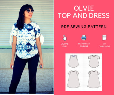 The Olvie Top and Dress PDF printable sewing pattern - DGpatterns