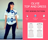The Olvie Top and Dress PDF printable sewing pattern and sewing tutorial. Download the fully graded pattern in sizes 4 to 22