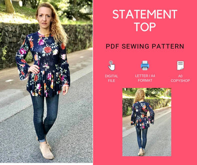 The Statement Top: Instant Download PDF top pattern for women - DGpatterns