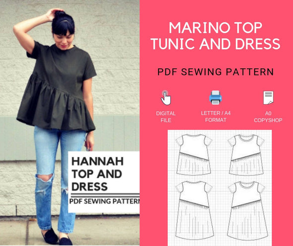 Hannah Top and Dress PDF sewing pattern - DGpatterns