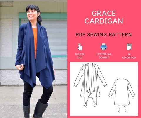 The Grace Cardigan PDF sewing pattern and Printable sewing tutorial with sizes included from 4 to 22