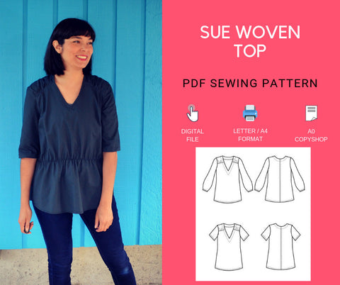 Sue Woven Top  PDF sewing pattern