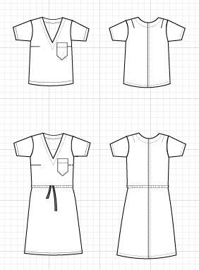 Cora Top and Dress PDF sewing pattern - DGpatterns